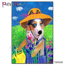 Diamond Painting Puppy watering flowers Embroidery Cartoon animal dog 5D Cross Stitch Pictures Of Rhinestones Home Decor
