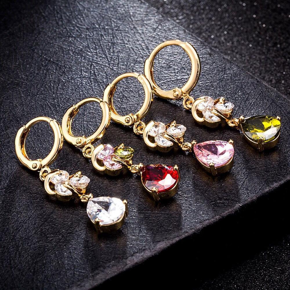 MxGxFam Новые висячие серьги для женщин подарок 18 К желтое золото цвет прозрачный/красный/фиолетовый/розовый с AAA+ кубический зрикон
