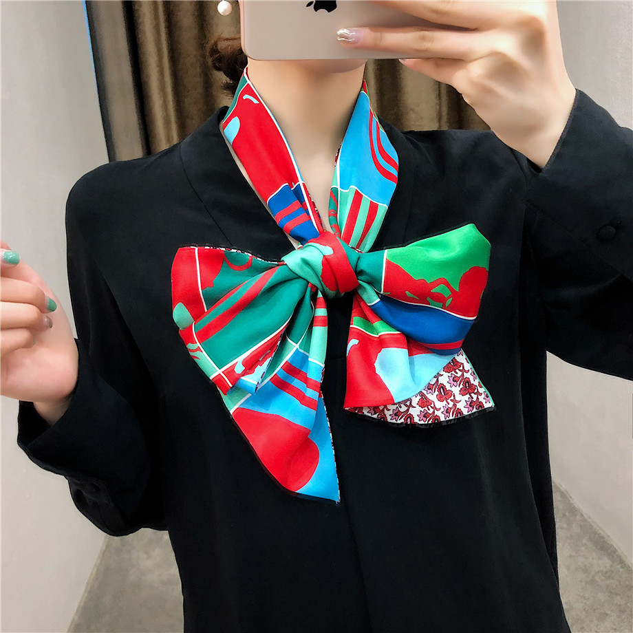 New Design Luxury Brand Twill   Scarf   Women Rope Plaid   Scarf   Handkerchief Head Silk   Scarves     Wraps   Neckerchief For Ladies