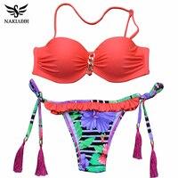 2016 New Sexy Brazilian Bikini Women Swimsuit Bandeau Floral Print Swimwear Push Up Bikini Set Top