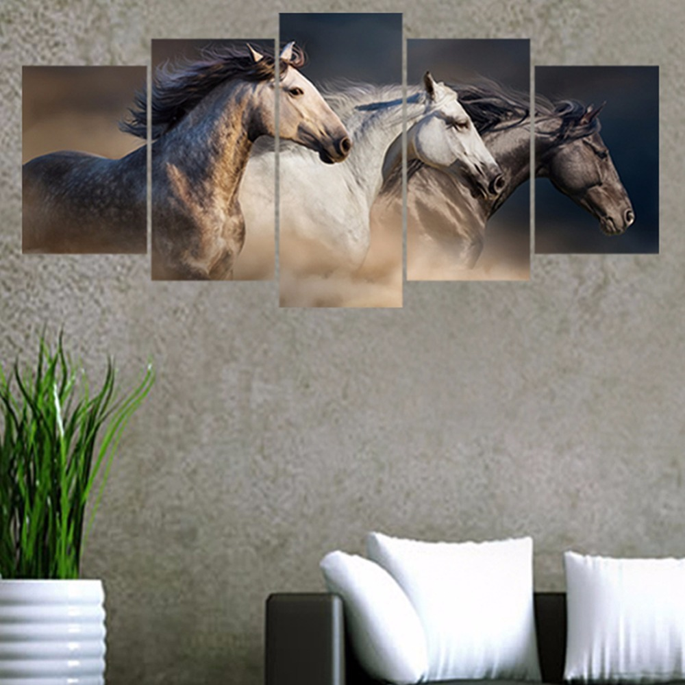 DIY Creative 5pcs/set Horse Galloping Combination Wall Stickers Home Decor Living Room Poster Self-adhesive Art Mural Decals