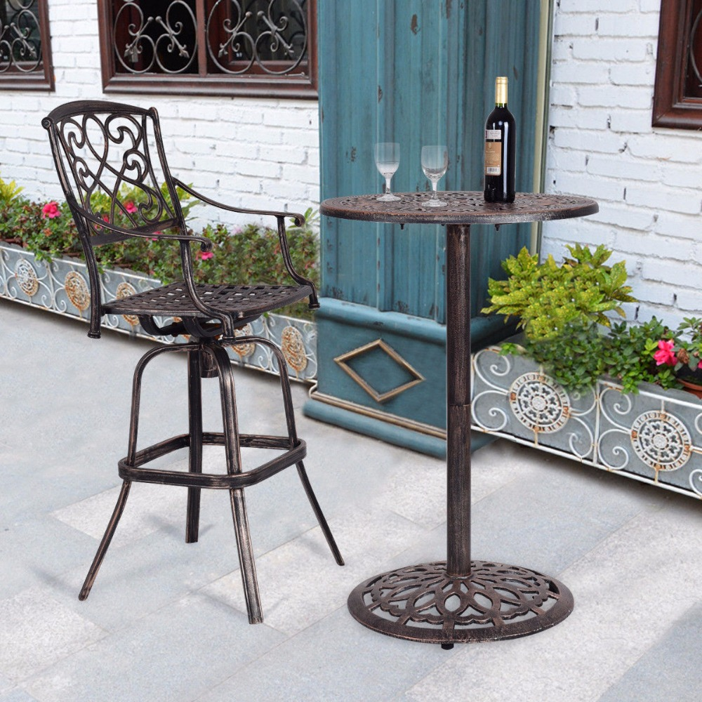 Giantex литой Алюминий круглый стол барный бар высота патио паб бистро мебель новый современный бар мебель OP3360