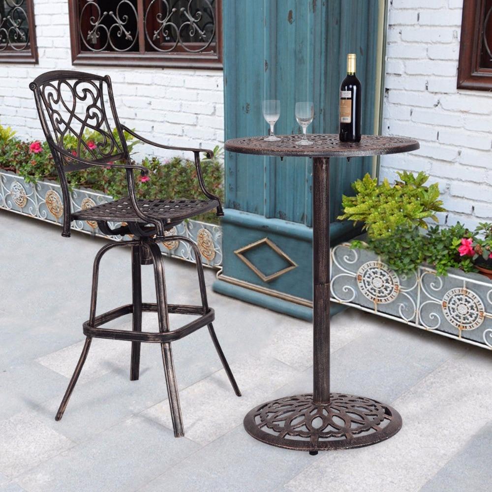 Giantex Cast Aluminum Round Bar Table Bar Height Outdoor Patio Pub Bistro Furniture New Modern Bar Furniture OP3360
