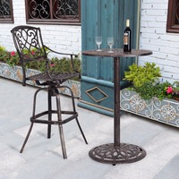 Giantex Cast Aluminum Round Bar Table Bar Height Outdoor Patio Pub Bistro Furniture New Modern Bar Furniture OP3360