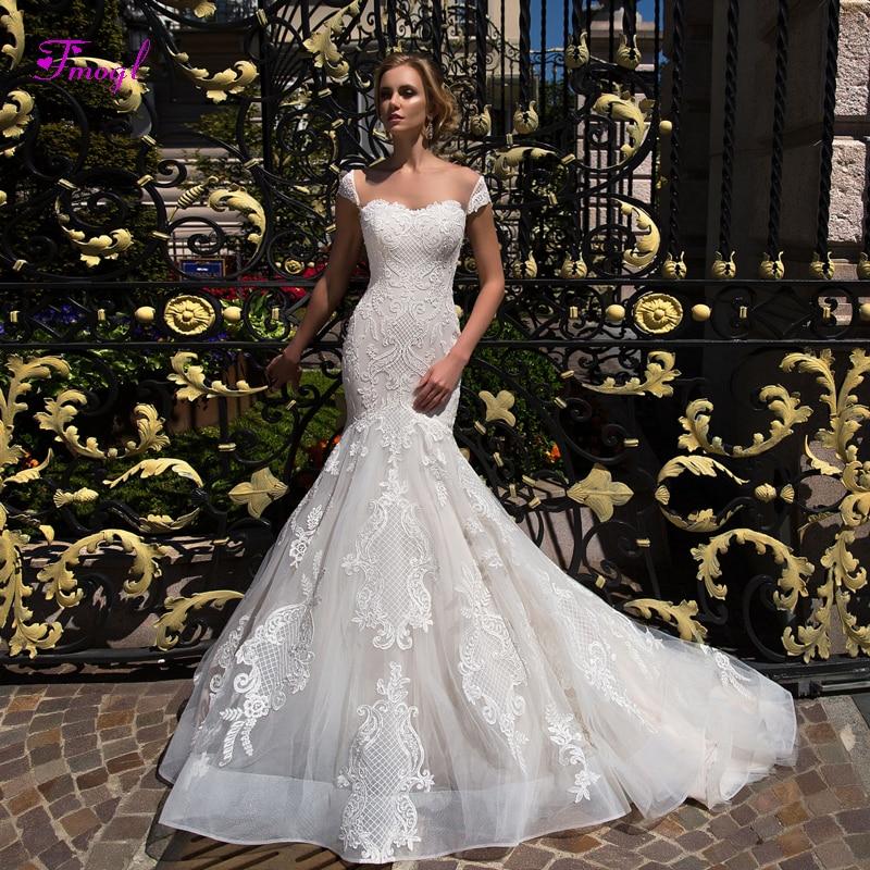 Botão Fmogl Sexy Pescoço Namorada Sereia Vestidos de Casamento 2019 Moda da Luva do Tampão Apliques Trumpet vestido de Noiva Vestido de Noiva