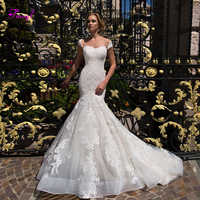 Fmogl Sexy chérie cou bouton sirène robes de mariée 2019 mode Cap manches Appliques trompette robe de mariée robe de Noiva