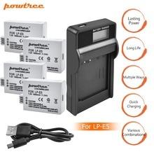 4PCS LP-E5 battery bateria lp e5 2pcs lpe5 batteries+LCD USB charger for Canon DSLR EOS 500D 450D 1000D kiss x3 sport camera L15