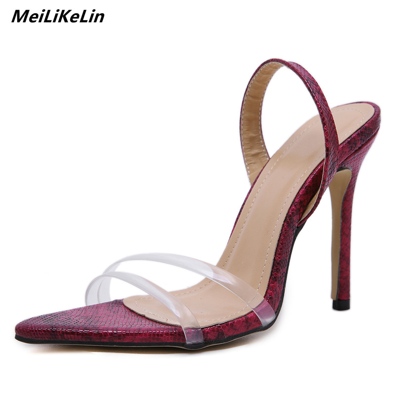 13e3b62cd29b0c MeiLiKeLin Snake Clear Pvc Sexy Sandals Slim Heel Point Toes high heels  womens slippers pumps mules