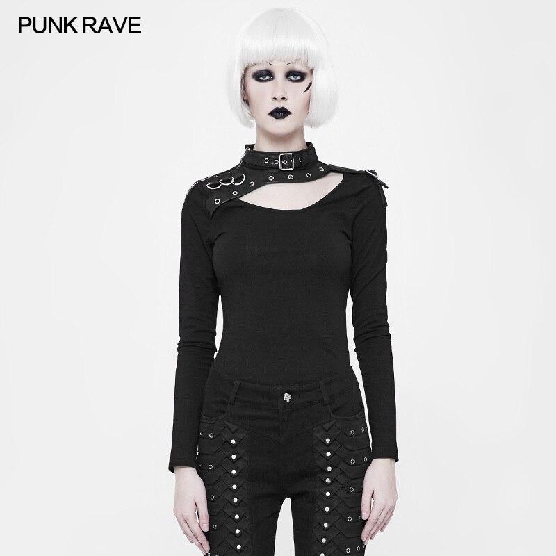 Mode élastique Slim-ajustement épaule avec fermeture à glissière en métal à manches longues T shirt gothique noir femmes T-shirt PUNK RAVE WT-518TCF - 2