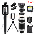 Phone Lens 12in1 Kit Fish eye Fisheye Wide Angle Macro Lens 8x Zoom Telephoto Lenses Tripod Wired Selfie Stick Flash Fill Light