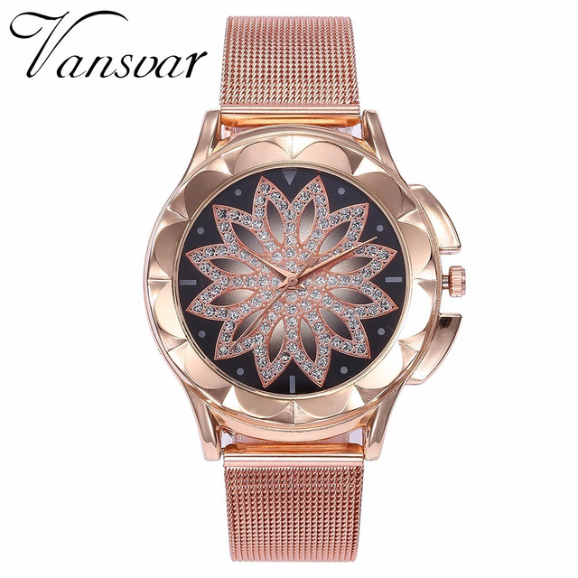 Fashion Women Rose Gold Flower Rhinestone Wrist Watches Luxury Casual Female Quartz Watch Relogio Feminino Drop Shipping 2