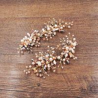 Jonnafe Blattgold Haarspangen Haarspangen Perlen Braut Haarschmuck Hochzeit Haarschmuck Haarkämme Vintage Frauen Kopfstück
