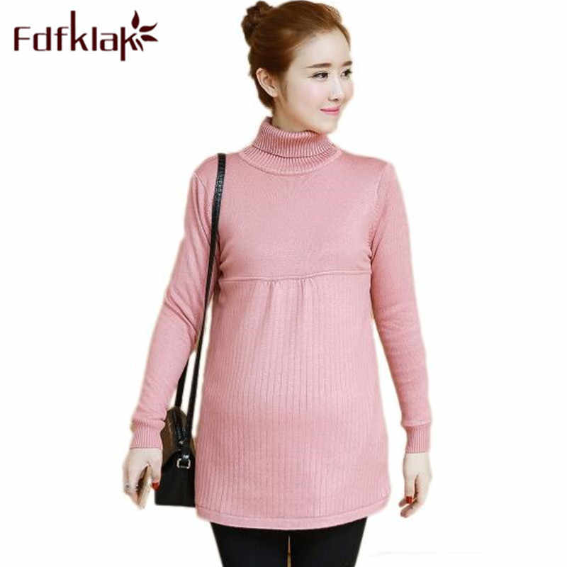 Fdfklak Hot Sale Pregnant Women Sweater Maternity-Clothes Winter Turtleneck Female Sweater Loose Clothes For Pregnant Women F67