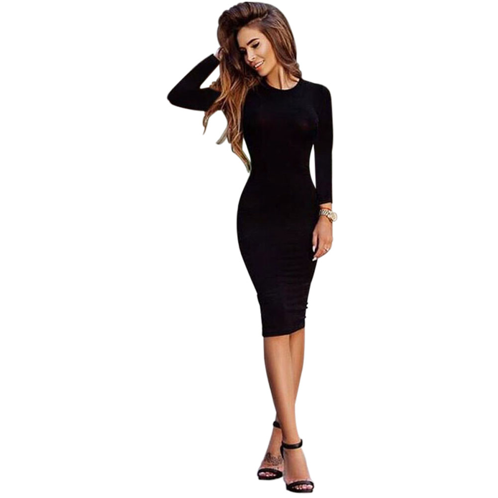 New Hot Autumn Spring Women Long Sleeve Dacron <font><b>Dress</b></font> <font><b>Bodycon</b></font> <font><b>Sexy</b></font> Slim Fit сарафан O-neck Casual solid color straight <font><b>Dresses</b></font> image