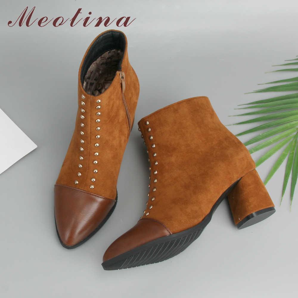 Meotina Perçin Yüksek Topuk Çizmeler yarım çizmeler Kadınlar Için Kış Sivri Burun kısa çizmeler Fermuarlı Moda Kadın Sonbahar Ayakkabı Siyah 46