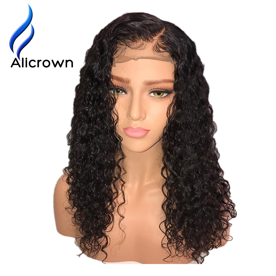 ALICROWN 180 Density Curly Lace Front Human Hair Wigs With Baby Hair Brazilian Remy 13 6