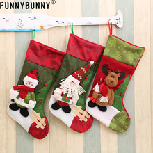 FUNNYBUNNY Christmas Decoration Personalized 3D stockings gift collection bag Santa Claus Snowman Elk