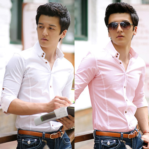 Aliexpress.com : Buy Male slim half sleeve shirt summer fifth ...