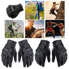 Motorcycle Gloves Leather Touch Screen Men Genuine Cycling Moto Glove