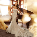 Alta Calidad Vestido De Novia de Novia de Encaje hasta Vestido de Sirena Vestido de Novia de Encaje de Tul De novia 2017 Más El Tamaño de Vestido de Mariage marfil