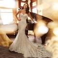 Vestido De Novia Querida Lace up Sereia Vestido De alta Qualidade vestido de noiva Tulle Vestido de Noiva Lace 2017 Plus Size Vestido de Mariage marfim