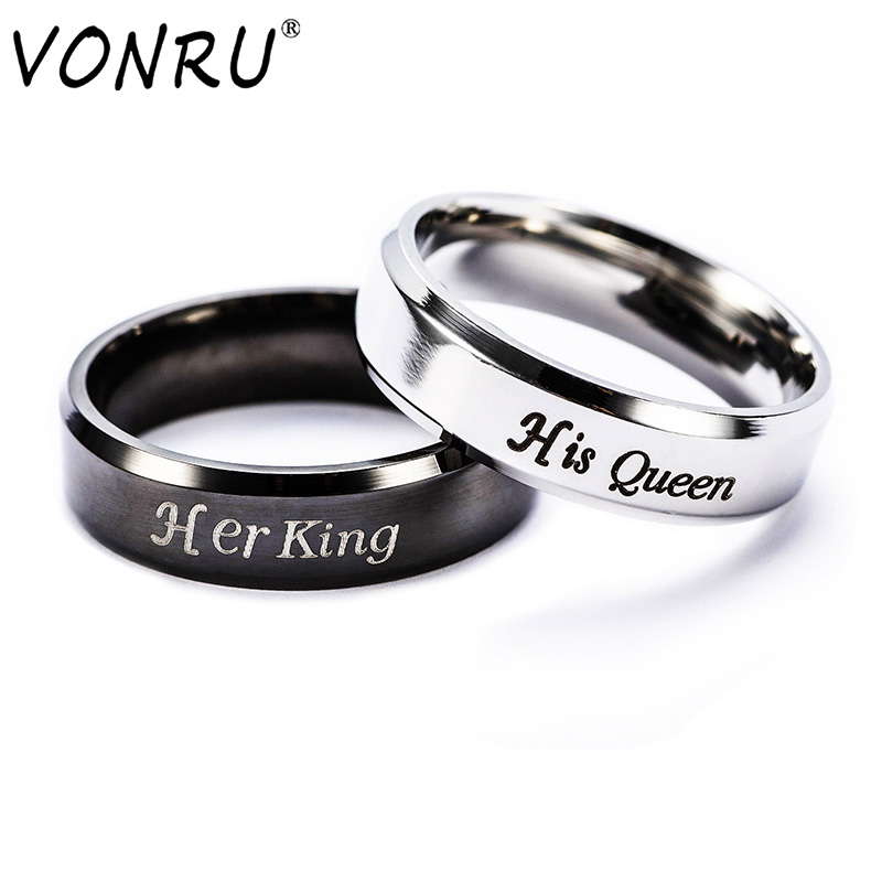 1PC Her King His Queen Stainless Steel Couple Rings