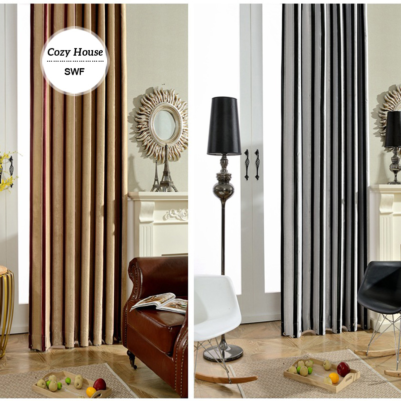Buy Modern Striped Blackout Curtains For Bedroom Roman Blinds Drapes For Living