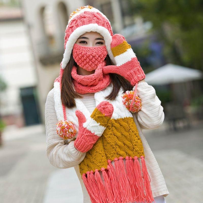 Kagenmo femmes chaud hiver quatre ensembles Cap écharpe gants masque épais coton tricot à l'intérieur de la flanelle Super chaud Fit pour froid hiver zone