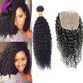 Cabelo virgem brasileiro com lace closure brasileiro kinky curly virgem cabelo com fechamento encaracolado humano tecer 3 pacotes com fecho