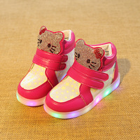 New 2017 Fashion Lovely Girls Shoes Boots Hot Sales Cool Baby Casual Shoes Glowing Sports Footwear