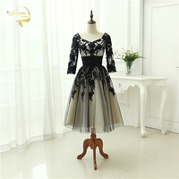 Free Shipping Ready To Shipping 2015 Lastest Dress Lace Tulle Half Sleeve Tea Length Dress Sweetheart