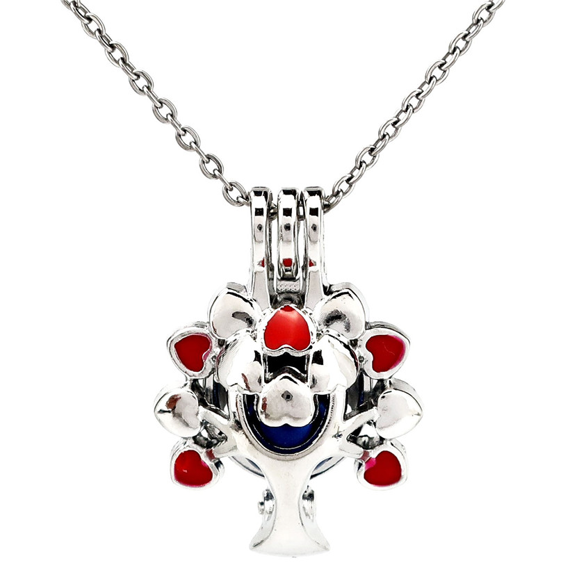 K1121 Silver Red Enamel Beauty Tree Beads Cage Pendant Stainless Necklace Aroma Essential Oil Diffuser Locket