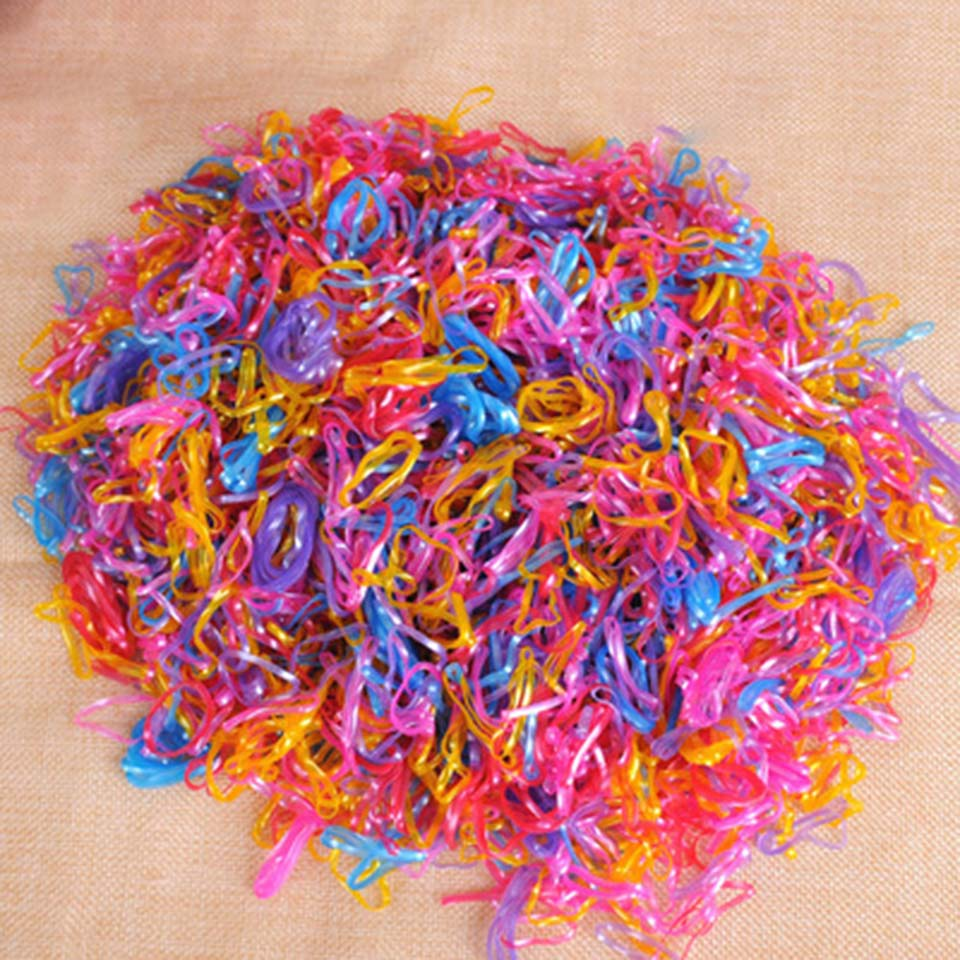 200pcs/pack Rubber Rope Ponytail Holder Elastic Hair Bands Ties Braids Plaits hair clip headband Girls Hair Accessories