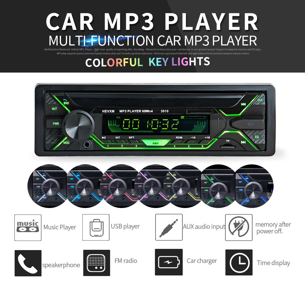 Portable  Bluetooth  Car Radio MP3 Player Stereo Audio Colorful Screen FM Stereo Radio ISO Port  Support USB SD Card Reader