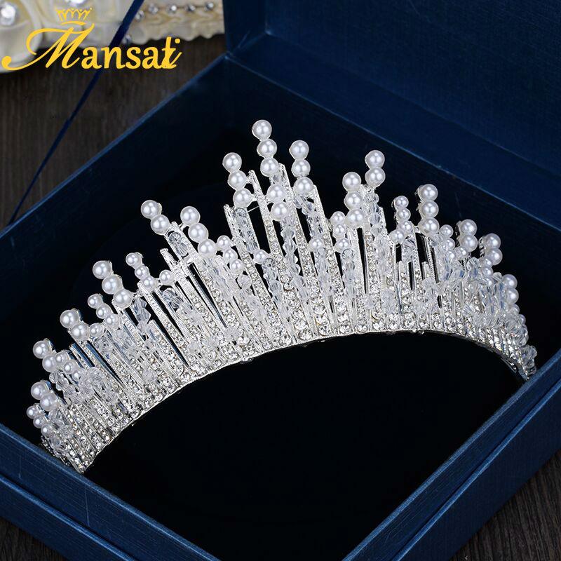 European Design Luxurious Rhinestone Tiara Upscale Pearl Jewelry Wedding Engagement Tiaras and Crowns Sparkly Hairband HG154