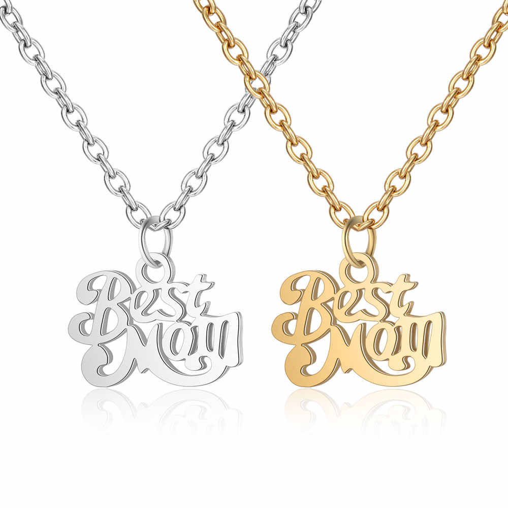 100% Stainless Steel Best Mom Charm Necklace Never Tarnish Steel High Polished Mum Family Mother Pendant Women Necklaces