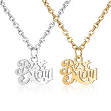 100% Stainless Steel Best Mom Charm Necklace Never Tarnish Steel High Polished Mum Family Mother Pendant Women Necklaces(China)