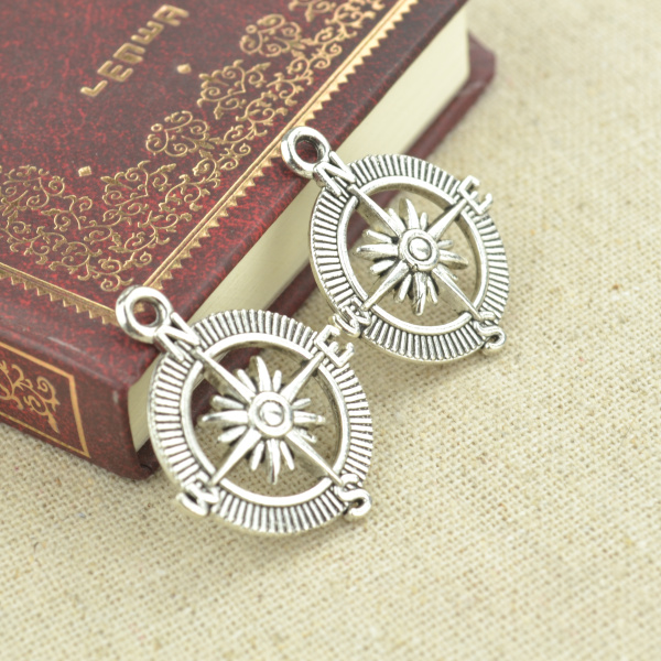 High quality 10pcs metal antique silver Plated compass charms for DIY jewelry making 29*25mm 2443