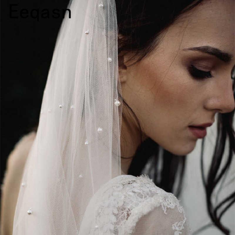Elegante Lange Elfenbein Hochzeit Schleier mit Metall Kamm 2019 Perlen Weiche Tulle Ein Schicht Kathedrale Braut Schleier Hochzeit Zubehör
