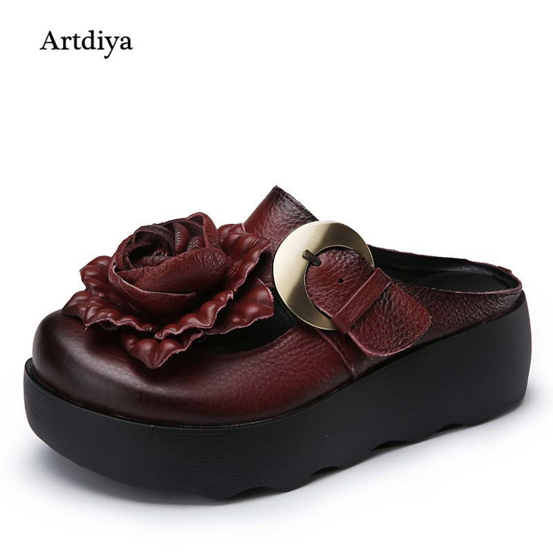 Lady Slippers 2019 New Summer Fashion Genuine Leather Sandals Muffin with Thick Bottom Round Toe Handmade Women Slippers 5268Lady Slippers 2019 New Summer Fashion Genuine Leather Sandals Muffin with Thick Bottom Round Toe Handmade Women Slippers 5268