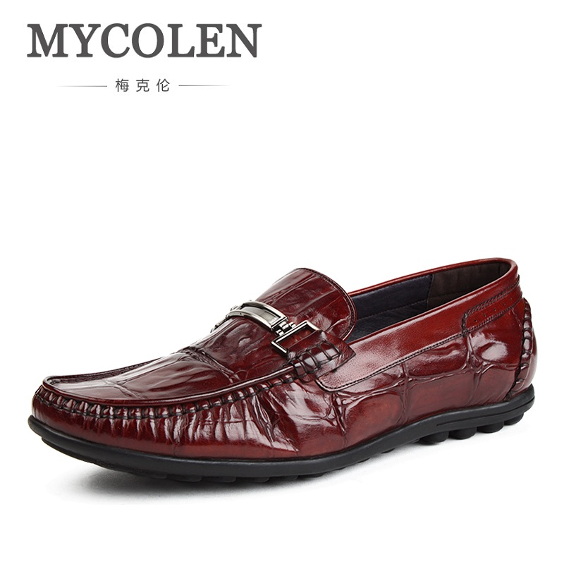 MYCOLEN Men' Dress Leather Shoes Genuine Leather Slip On British Round Toe Men Flats Shoes Luxury Brand Loafers Shoes 2017 brand new spring men fashion loafers shoes slip on flats genuine leather shoes young men breathable casual shoes wa 32