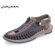 JUNJARM 2017 Men's Sandals Suede Leather Summer Beach Shoes Fashion Mens Knit Weaven Water