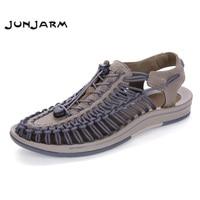 JUNJARM 2017 mannen Sandalen Suède Zomer Strand Schoenen Mode Heren Strand Sandalen Hoge Kwaliteit Knit Weaven Water Schoenen