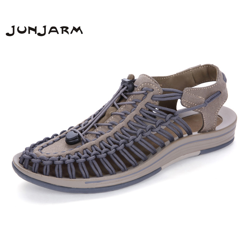 JUNJARM Men's Sandals Suede Leather Summer Beach Shoes Fashion Mens Beach Sandals High Quality Knit Weaven Water Shoes junjarm men s sandals suede leather summer beach shoes fashion mens beach sandals high quality knit weaven water shoes
