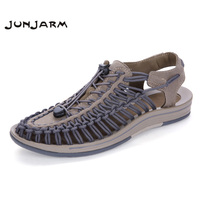 JUNJARM Men's Sandals Suede Leather Summer Beach Shoes Fashion Mens Beach Sandals High Quality Knit Weaven Water Shoes