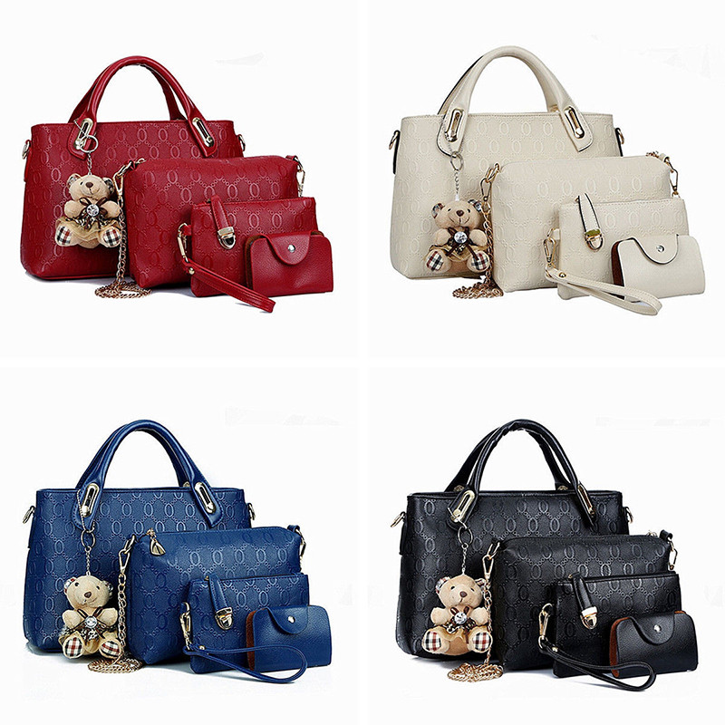 2017 New 4PCS Set Leather Shoulder Bag Handbag Design Fashion Women ... 76d4312813892