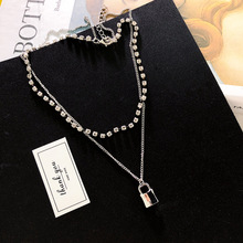 Korean new design daily wild Silver small lock shape double necklace flash drill neck chain choker clavicle