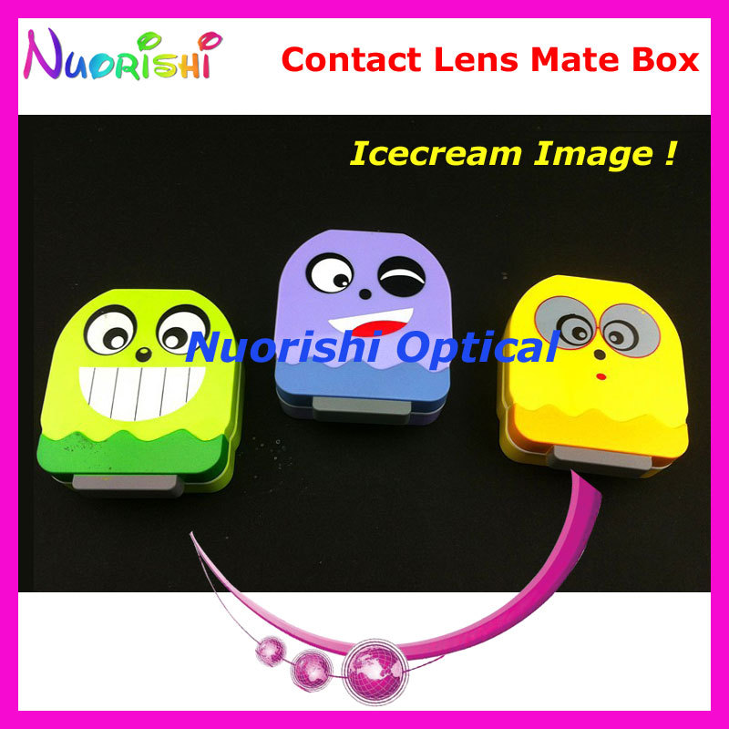 Free Shipping 10pcs Icecream Image Contact Lens Mate Box with Mirror C509 contact lens case