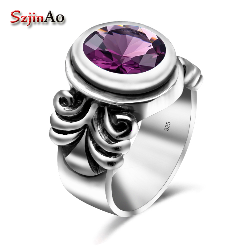 Szjinao Genuine Charms Amethyst Solid 925 Sterling Silver Rings For Women's Gift Punk Bohemia Fine Jewelry Gemstone Wholesale szjinao cute genuine 100
