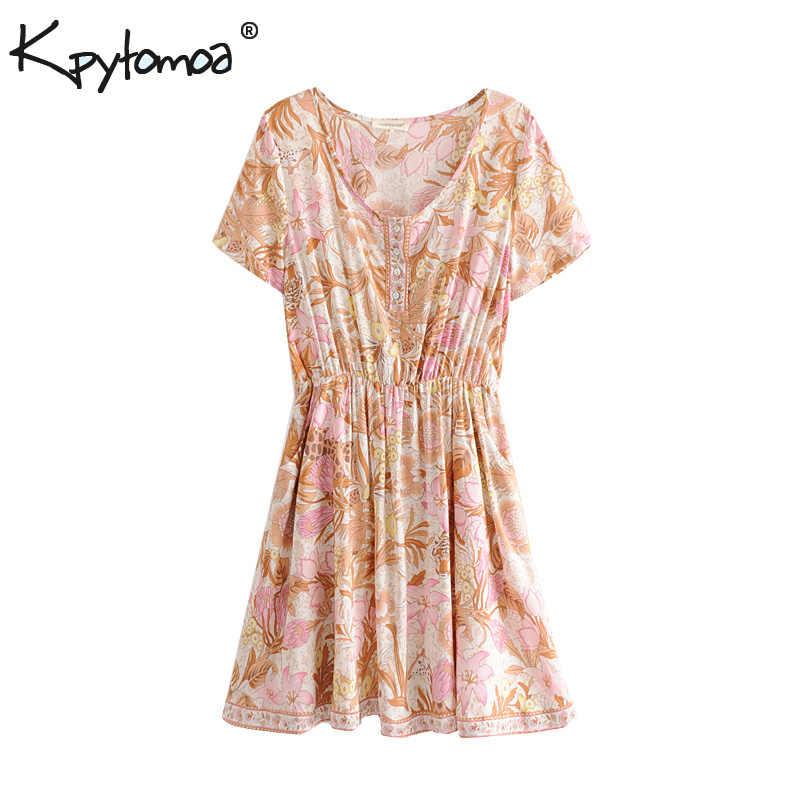 ba0d0d1c665c8 Boho Chic Summer Vintage Floral Print Mini Dress Women 2019 Fashion Short  Sleeve Elastic Waist Beach Dresses Vestidos Mujer